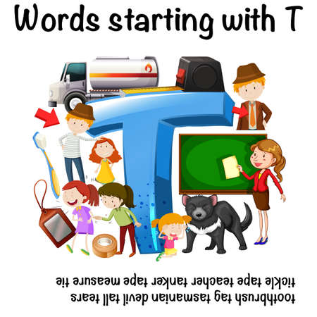 English worksheet for words starting with T with corresponding sample illustration