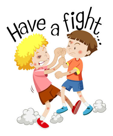 Two boys fighting in a cartoon vector illustration and with phrase have a fight Vettoriali