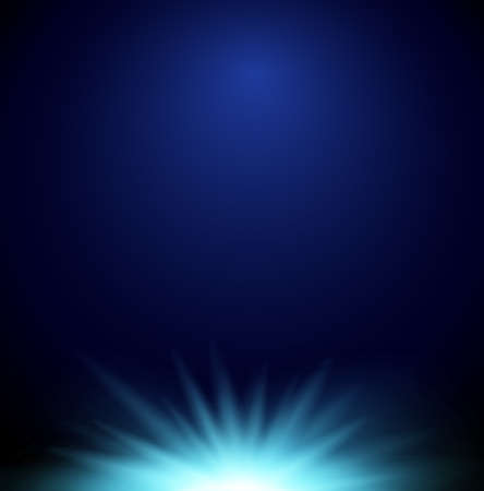 A design with a bright light on a dark blue background illustration