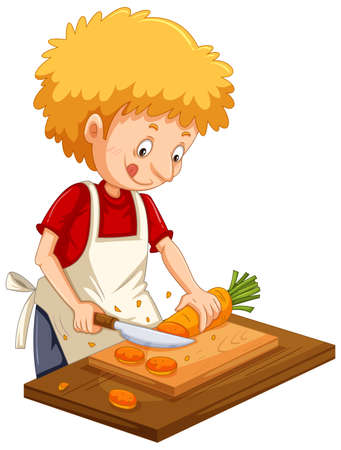 Man chopping carrot on a cutting board in cartoon vector illustration