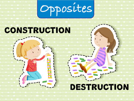 Opposite words for construction and destruction illustration
