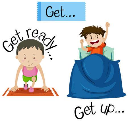 Wordcard para prepararse y levantarse ilustración
