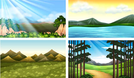 Four nature scenes with forest and lake illustration Vectores