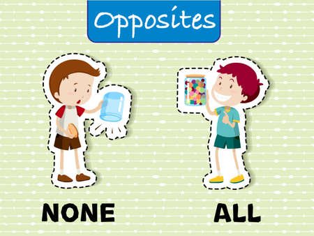Opposite words for none and all illustration