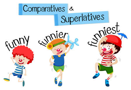 Comparatives and superlatives word for funny illustration