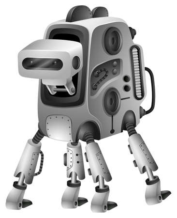 Modern robot with four legs illustration