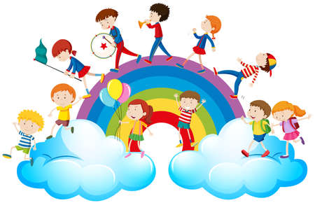 Children playing music over the rainbow illustration