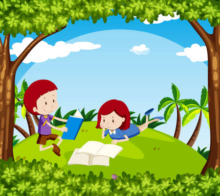 Boy and girl reading book in park illustration