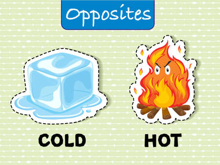 Opposite words for cold and hot illustration Illustration
