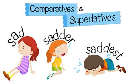 Comparatives and superlatives word for sad illustration