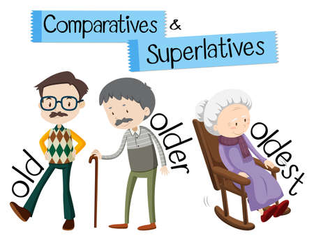 English grammar for comparatives and superlatives with word old illustration  イラスト・ベクター素材
