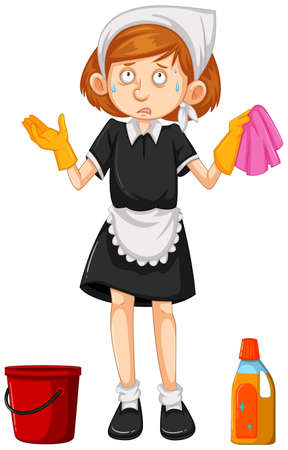 Female cleaner with cleaning equipments illustration