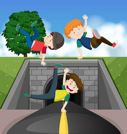 Three kids dancing on the street illustration