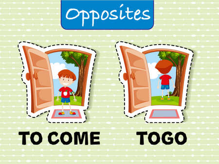 Opposite words for come and go illustration