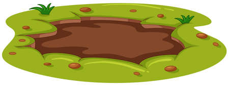 Muddy puddle on the ground illustration Illustration