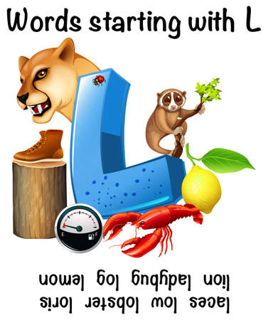 Educational poster for words starting with L illustration