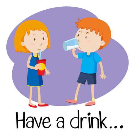 Wordcard for have a drink illustration