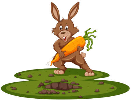 Cute bunny and giant carrot illustration Stock Illustratie