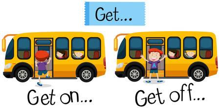 Wordcard for get on and get off illustration Illustration