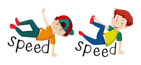 Boys and word speed illustration