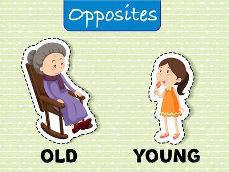 Opposite words for old and young Vector illustration.