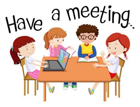 Illustration pour avoir une réunion avec des gens sur la table illustration Banque d'images - 98356999