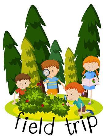Illustration for field trip with kids learning in garden illustration