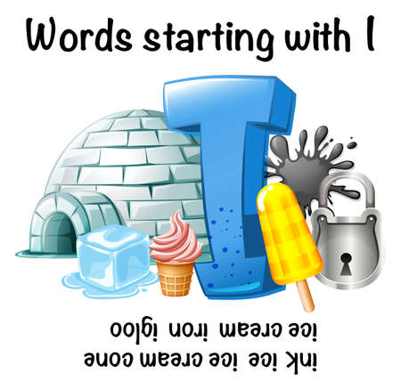 English worksheet for words starting with I illustration, with igloo, ice cream and ice Ilustração