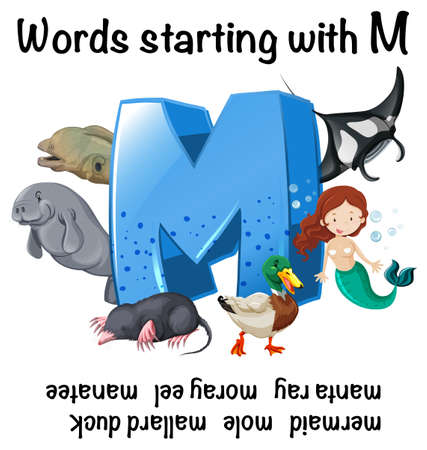 English worksheet for words starting with M illustration with mermaid and other mammals
