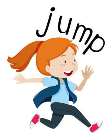 Illustration for jump with girl jumping illustration Illustration