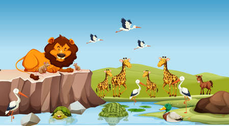 Wild animals living by the pond illustration 일러스트
