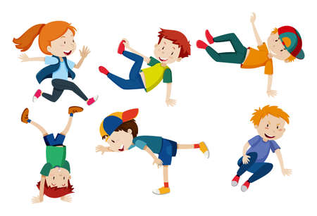 Kids doing different dance positions illustration