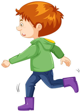 Boy with green jacket and purple boots illustration Illustration