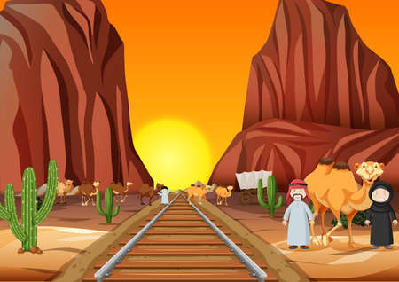 Camels and arab people crossing the railroad at sunset illustration