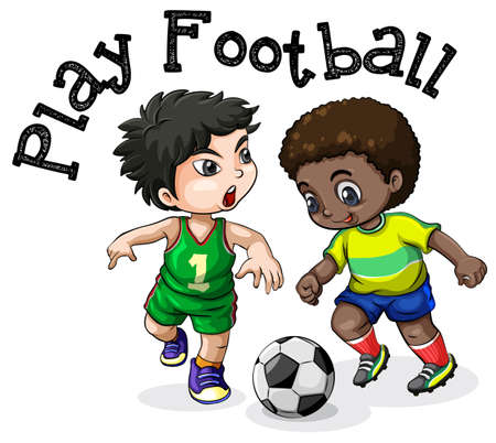 Kids Playing Football on White Background illustration Vettoriali