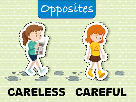 Careless and Careful Opposite Words illustration