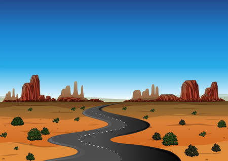 Desert scene with empty road illustration
