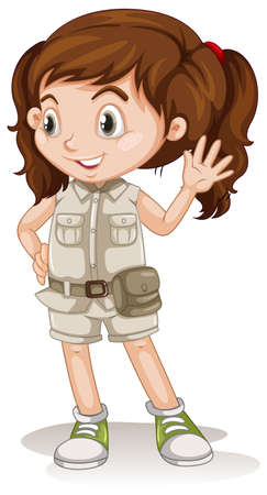 A Cute Girl wearing a safari outfit illustration