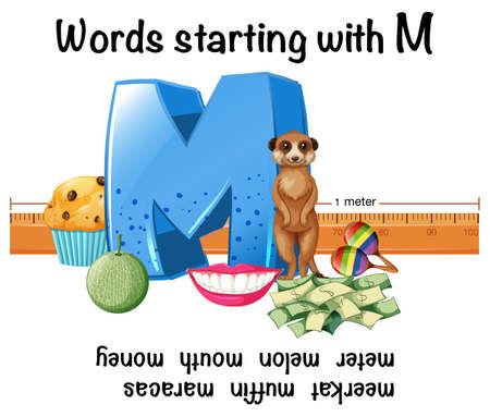 English words starting with M illustration Illustration