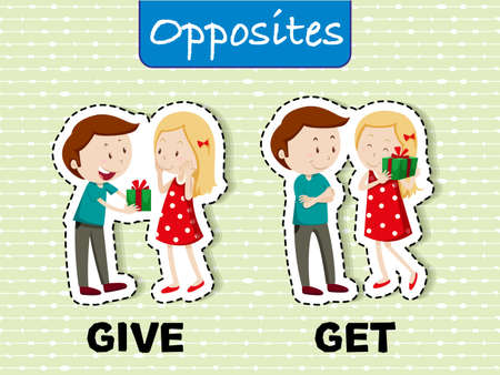 Opposite words for give and get illustration Stock Illustratie