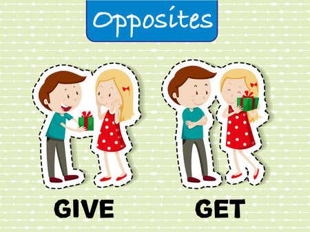 Opposite words for give and get illustration Illustration