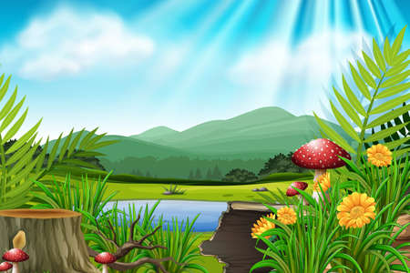 Background scene with mountain and lake illustration