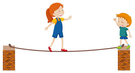 Girl walking on thin rope illustration Vectores