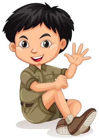 Little boy waving hand illustration