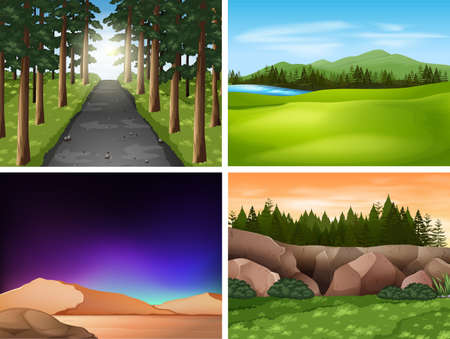 Four nature scenes with mountains and field illustration Illustration
