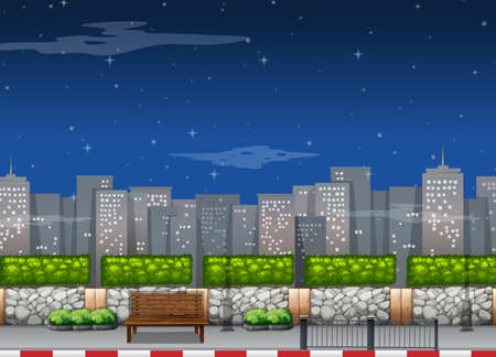 City scene with tall buildings at night illustration
