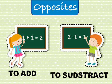 Mathematics Opposite Word flashcard illustration Illustration
