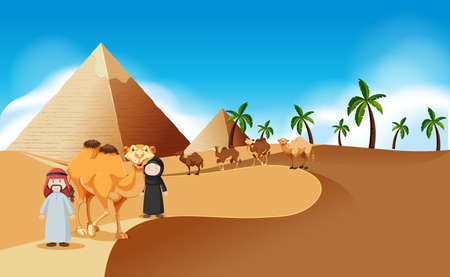 Desert scene wth pyramids and camels illustration