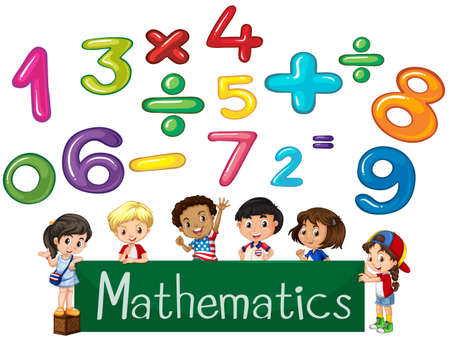 Colored numbers and children Mathematics illustration