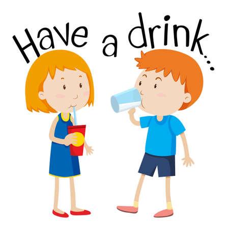 Kids Have a Drink illustration Vectores